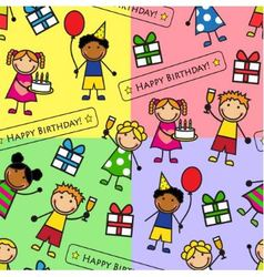 Cartoon seamless pattern with birthday party vector image