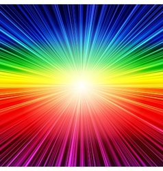 Abstract rainbow striped burst background vector