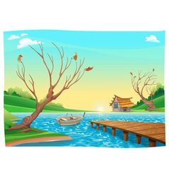 Lake with boat vector