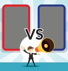 Businessman with Megaphone Announcement Versus vector image