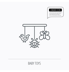 Baby toys icon butterfly ladybug and bird sign vector
