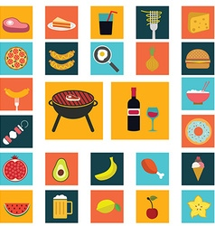Food and cooking flat icons set of white symbols vector