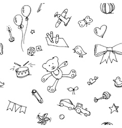 Cute doodle baby seamless pattern vector