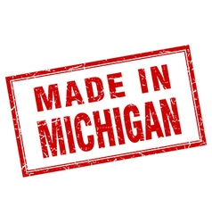 Michigan red square grunge made in stamp vector