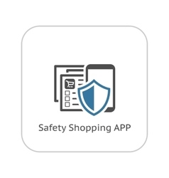 Safety shopping app icon flat design vector
