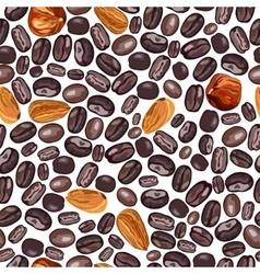 Coffee and nuts pattern on a vector