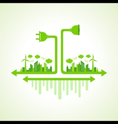 Eco city concept with plug and holder stock vector