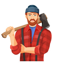 Axeman with wooden axe isolated on white vector