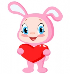 baby bunny holding a heart vector image