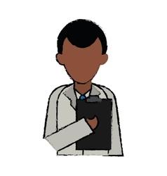 Cartoon character doctor clipboard uniform vector