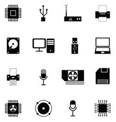 computer hardware icon set vector image