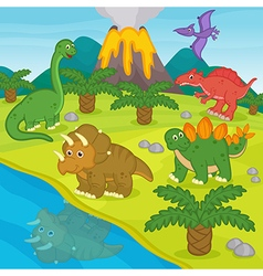 dinosaurs and prehistoric landscape vector image