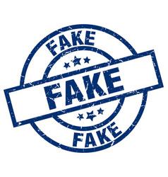 Fake blue round grunge stamp vector