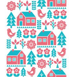 finnish inspired folk art seamless pattern vector image