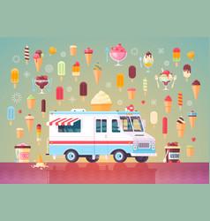 Flat ice cream icons and ice cream truck vector