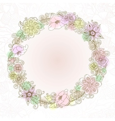 floral background retro flowers and leaves vector image