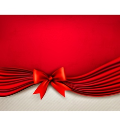 Holiday red background with gift glossy bow and vector image vector image