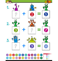 Maths addition educational game with aliens vector
