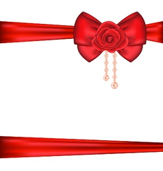 Red bow with rose and pearls for packing gift vector image vector image