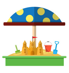 Sandbox with red dotted umbrella icon vector