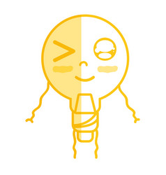 Silhouette kawaii cute funny bulb energy with arms vector