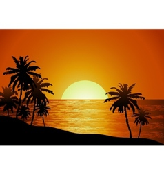 Sunset view in beach with palm tree vector image vector image
