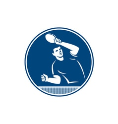 Table tennis player serving circle icon vector