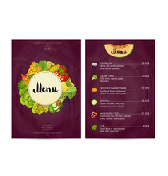 vegan cafe food menu design vector image