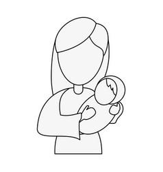 virgin mary holding baby jesus cartoon vector image vector image