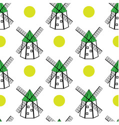 windmills and sun seamless pattern vector image