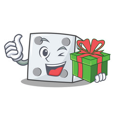 With gift dice character cartoon style vector