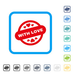 with love stamp seal framed icon vector image vector image
