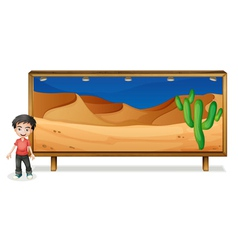 boy and nature frame vector image