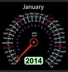 2014 year calendar speedometer car in january vector