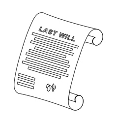 Last will icon in outline style isolated on white vector