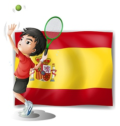 A tennis player in front of the spanish flag vector