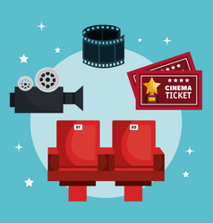 Movie entertainment elements icon vector