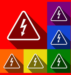 High voltage danger sign  set of icons vector