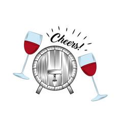 Wineglasses and barrel icon vector