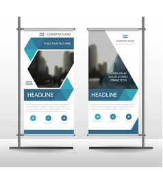 Blue hexagon business roll up banner flat design vector