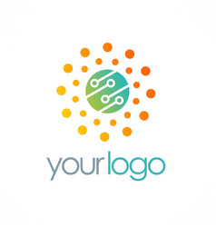 Dot circle connection technology logo vector