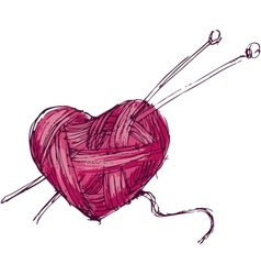 Heart of yarn vector