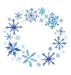Winter Christmas Wreath - Snowflakes in Watercolor vector image