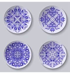 Set of circular plates with lace ornament vector