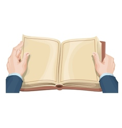 Male hands holding open book vector