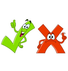 Tick and cross cartoon vector