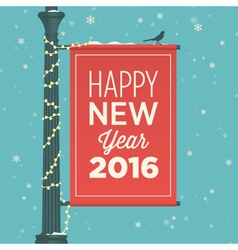 Happy new year 2016 card sign street vector