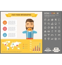 Fast food flat design infographic template vector