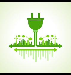 Eco city concept with plug stock vector