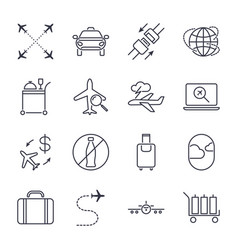 Airport icon set universal airport and air travel vector
